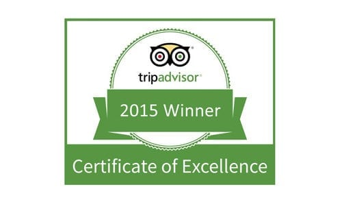 2015 certificate of excellence from trip advisor