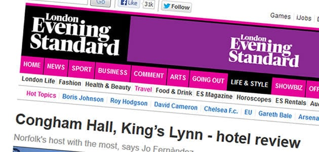 London Evening Standard Hotel Review of Congham Hall Hotel and Spa