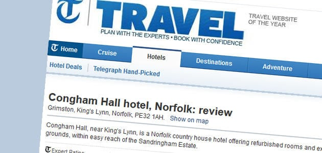 The telegraph travel section review june 2013 congham for Accolades salon reviews