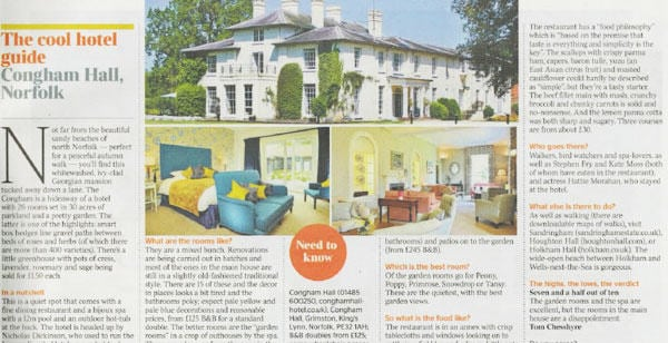 Congham Hall featured in The Times