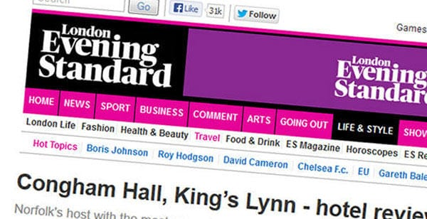 Congham hall Featured in the London Evening Standard